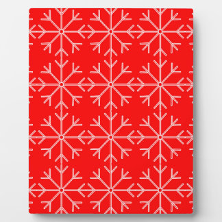 Snowflake  pattern - red and white. plaque