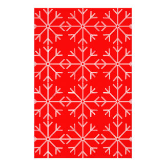 Snowflake  pattern - red and white. stationery