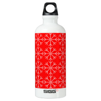 Snowflake  pattern - red and white. water bottle