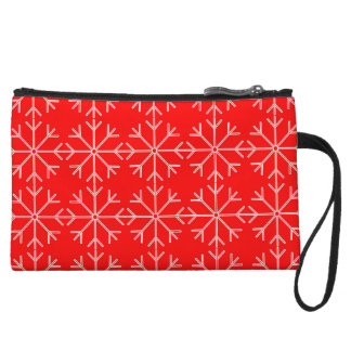 Snowflake  pattern - red and white. wristlet