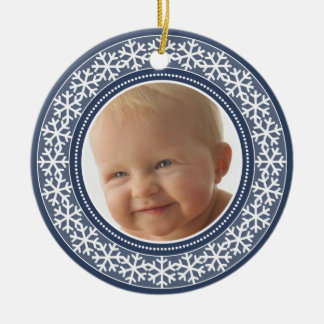 Snowflake Photo Frame Christmas Double-Sided Ceramic Ornament