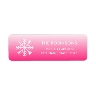 Snowflake Pink Gradient Return Address Return Address Label