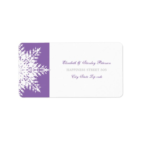 Snowflake purple white winter wedding label address label
