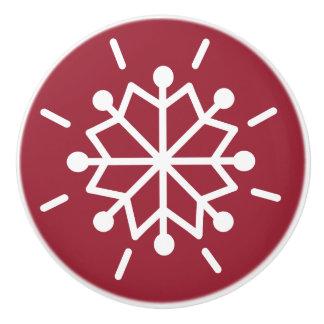 Snowflake Red Ceramic Knob