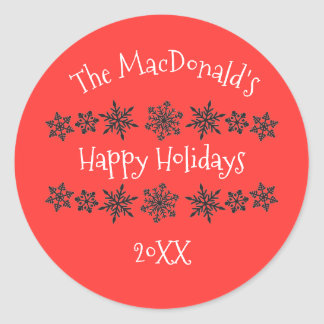 Snowflake Red Happy Holidays - Circle Sticker