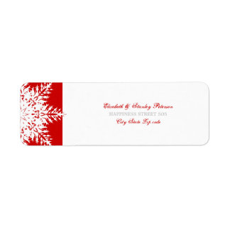 Snowflake red white winter wedding label return address label