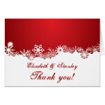 Snowflake red white winter wedding Thank You Note Card