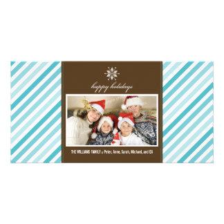 Snowflake Ribbon Family Holiday Photocard (aqua) Picture Card