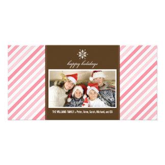 Snowflake Ribbon Family Holiday Photocard (pink) Photo Cards