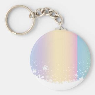 Snowflake Scene Basic Round Button Key Ring