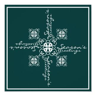Snowflake Season's Greeting 13 Cm X 13 Cm Square Invitation Card