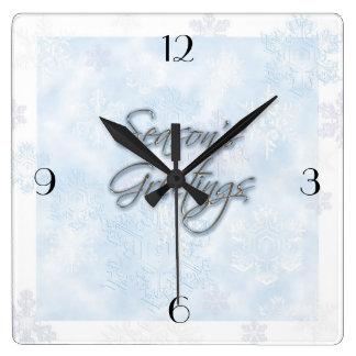 Snowflake Season's Greetings Clock