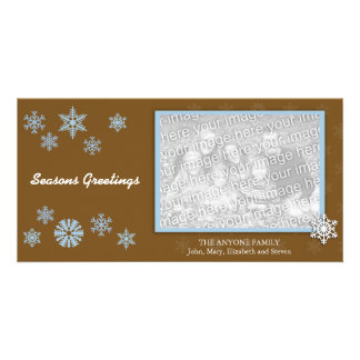 Snowflake Seasons Greetings Personalized Photo Card