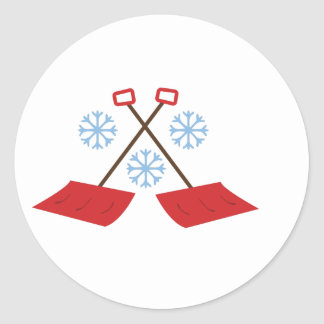 Snowflake Shovels Round Sticker