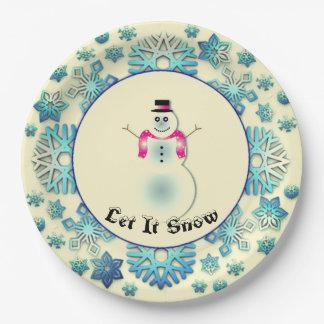 Snowflake Snowman Blue Paper Plate
