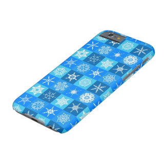 Snowflake Squares on Blue Barely There iPhone 6 Case