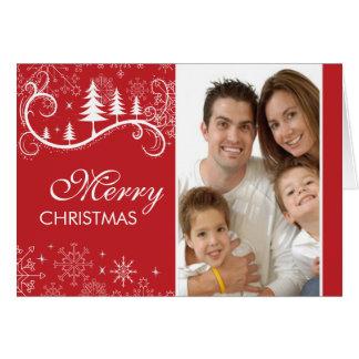 Snowflake Swirl Christmas Photo Greeting Card