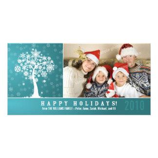 Snowflake Tree Family Holiday Photocard (aqua) Customised Photo Card