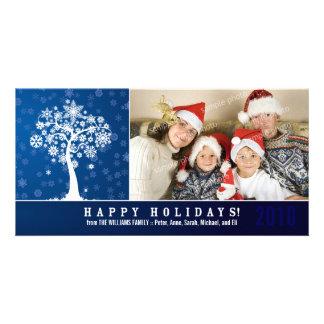 Snowflake Tree Family Holiday Photocard (blue) Custom Photo Card