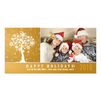 Snowflake Tree Family Holiday Photocard (gold) Personalised Photo Card