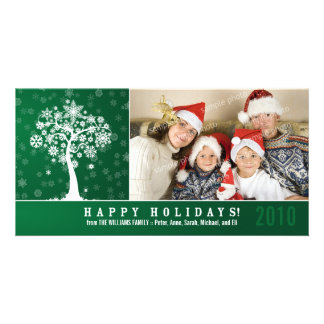 Snowflake Tree Family Holiday Photocard (green) Customised Photo Card