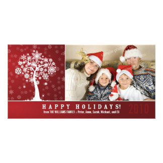 Snowflake Tree Family Holiday Photocard (red) Custom Photo Card