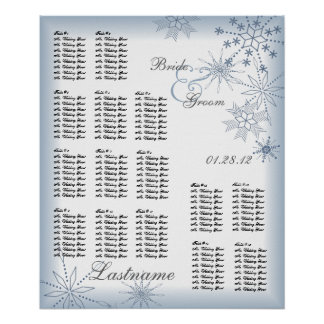 Snowflake Wedding Seating Chart Blue Posters