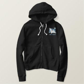 Snowflake Westie Embroidered Zipper Hoodie