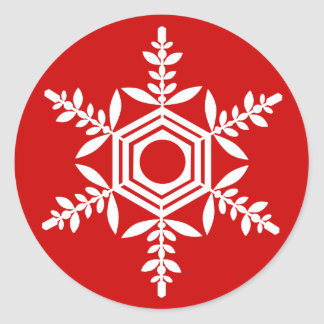 Snowflake (white) gift seal round sticker