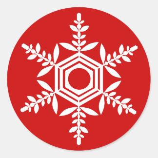 Snowflake (white) gift seal round sticker