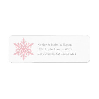 Snowflake | White/Pink Return Address Label
