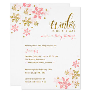 Snowflake Winter Baby Shower   Gold Pink Glitter Card