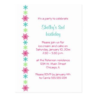 Snowflake Winter Birthday Invitation Postcard