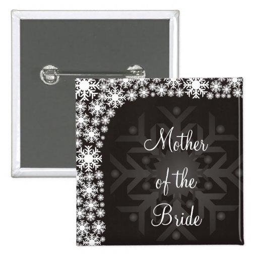 Snowflake Winter Wedding Bridal Shower Pinback Button