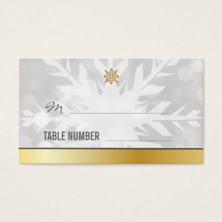 Snowflake Winter Wedding Place cards Template