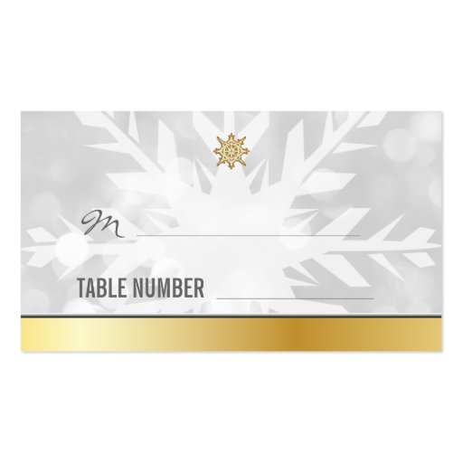 Snowflake Winter Wedding Place cards Template Business Card
