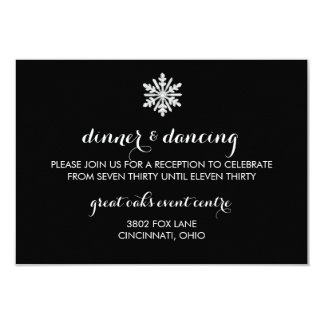 Snowflake Winter Wedding Reception Card