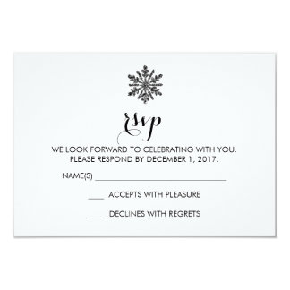 Snowflake Winter Wedding RSVP Card