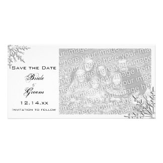 Snowflake Winter Wedding Save the Date Photo Card
