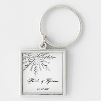 Snowflake Winter Wedding Silver-Colored Square Key Ring