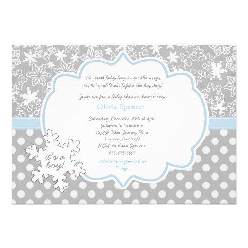 snowflake winter wonderland baby shower invitation 13 cm x 18 cm