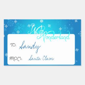 Snowflake Winter Wonderland Gift Tag Rectangular Sticker