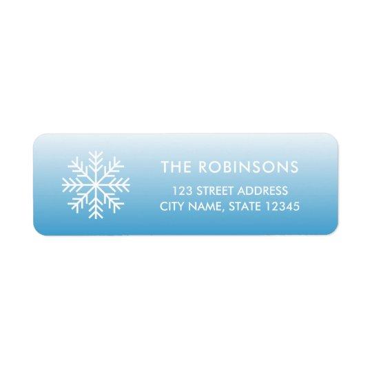 Snowflake Wintry Blue Gradient Return Address Return Address Label