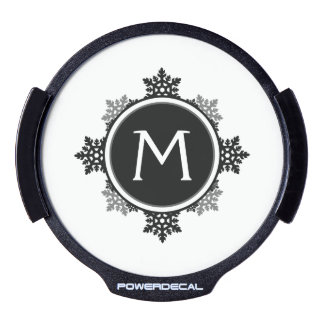 Snowflake Wreath Monogram in Black and White LED Window Decal