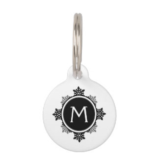 Snowflake Wreath Monogram in Black and White Pet Tag