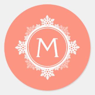 Snowflake Wreath Monogram in Coral Pink White Round Sticker