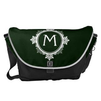 Snowflake Wreath Monogram in Dark Green & White Messenger Bags