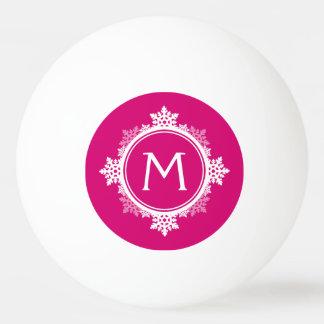 Snowflake Wreath Monogram in Fuchsia Pink & White Ping Pong Ball