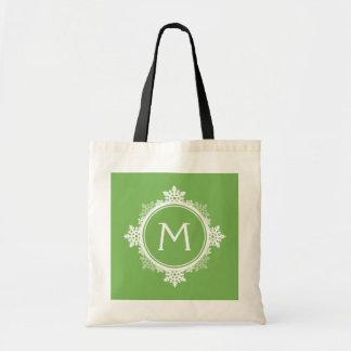 Snowflake Wreath Monogram in Lime Green White Bag