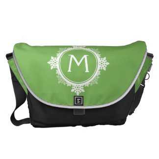 Snowflake Wreath Monogram in Lime Green & White Commuter Bags